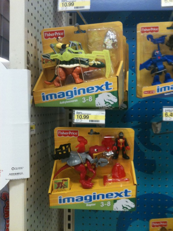 Imaginext Dino Riders on the pegs at Target