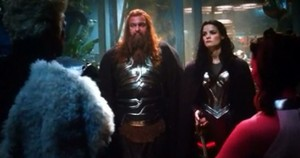 Volstagg and Lady Sif Thor the Dark World End Credits